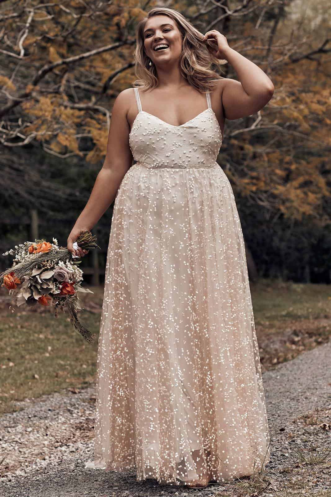 Elopement Wedding Dress for Curvy Brides Blush Embroided Beaded Dress Intimate Wedding Dress Romantic Grace Loves Lace Menha