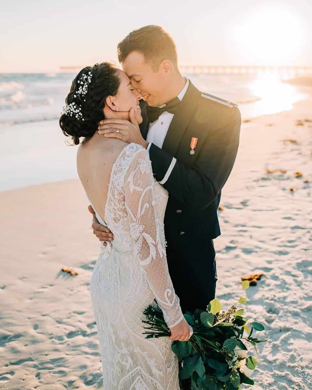 Elopement Wedding Dresses Long Sleeve Beaded Dress Intimate Wedding Dress Romantic Karissa Layne Photography