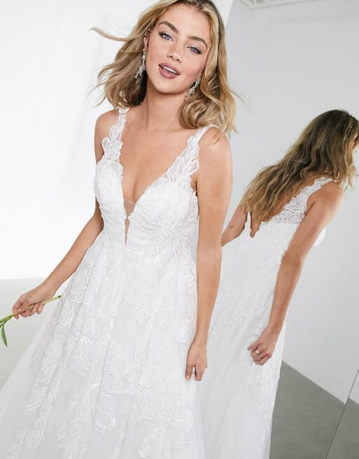 Embroidered Lace Wedding Dress Fabric Online Plung Bridal Gown Mesh ASOS