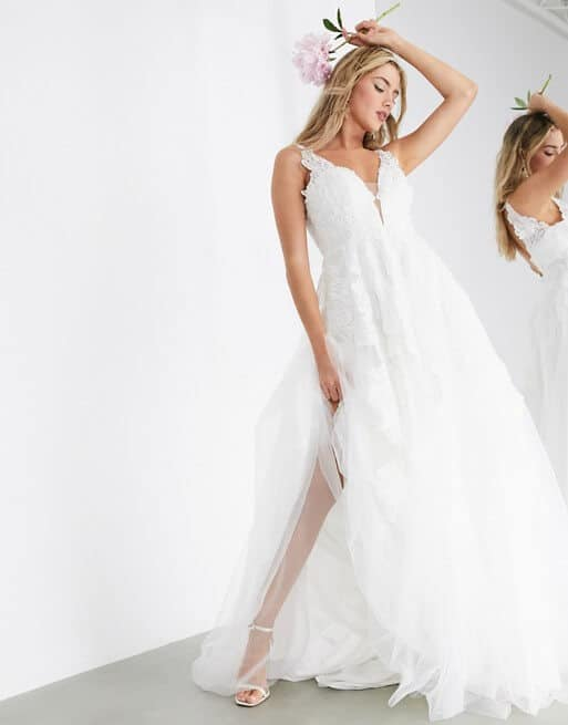 Embroidered Lace Wedding Dress Fabric Online Plung Wedding Dresses ASOS