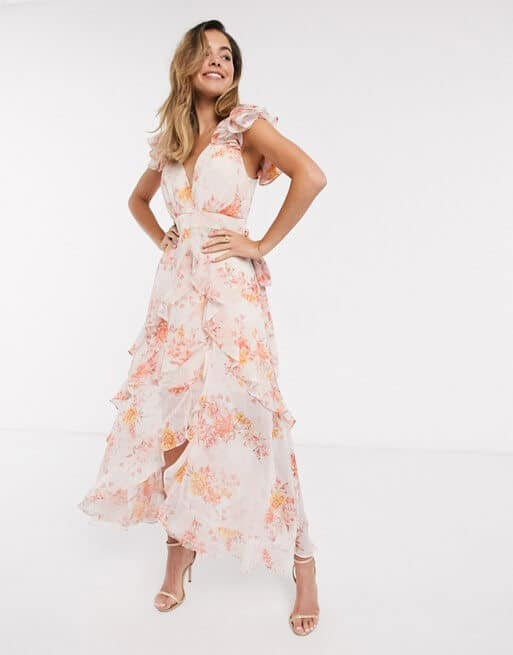 Floral Bridesmaid Dresses Online Orange Pink Floral Print Ruffle Maxi Dress Forever New