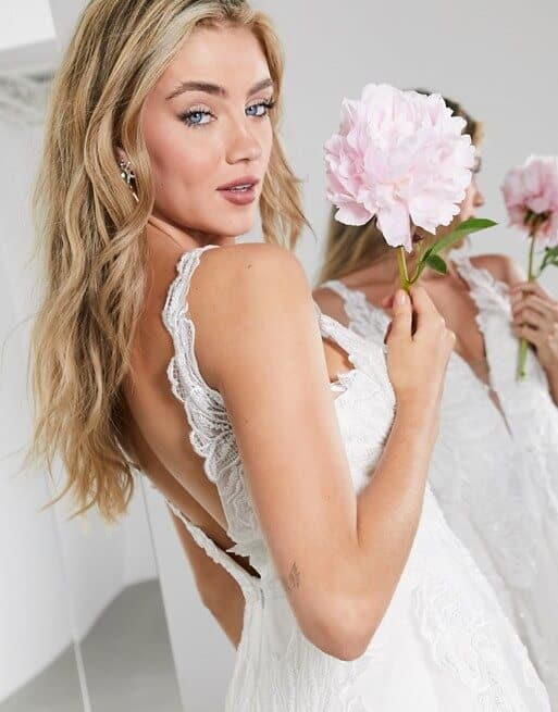 Floral Embroidered Lace Wedding Dress Fabric Online Plung Wedding Dresses ASOS