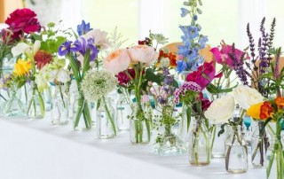 Floral Jars Flowers in Jars Wedding Inspiration Floral Wedding Ideas