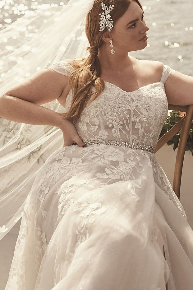 Floral Plus Size Wedding Dress A Line with Swag Sleeves Galina Signature David's Bridal