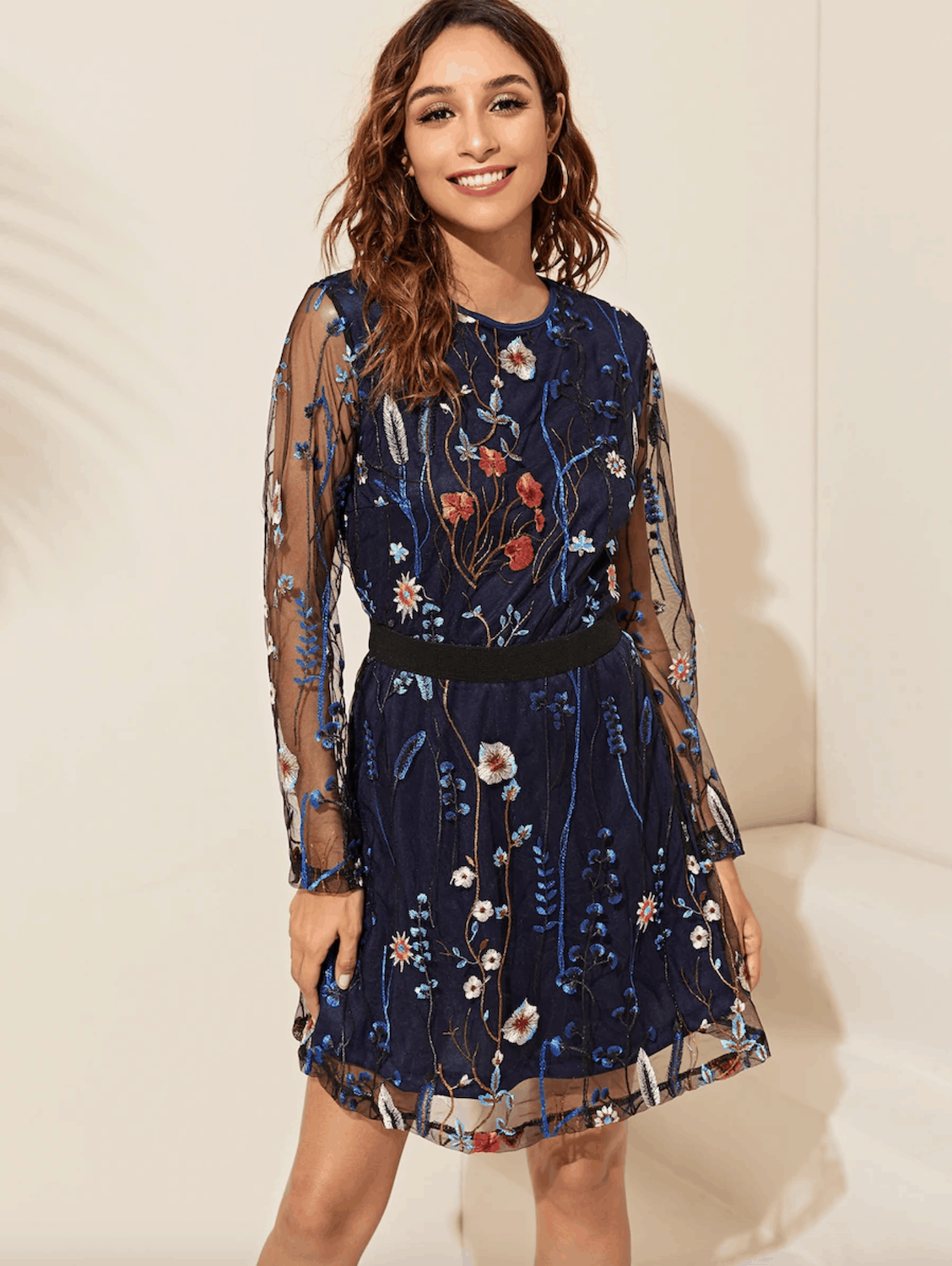Floral Print Dresses Gorgeous Spring Honeymoon Outfits Floral Embroidery Mesh Overlay Dress