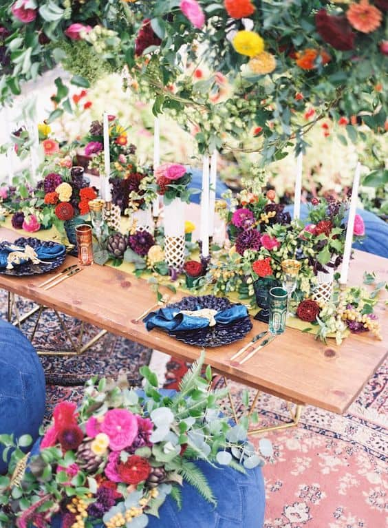 Floral Wedding Reception Table Setting Floral Design Molly Taylor + Co. Lauren Gabrielle Photography