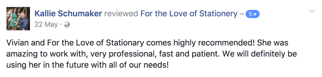 For the Love of Stationery Reviews. Customer Testimonials.
