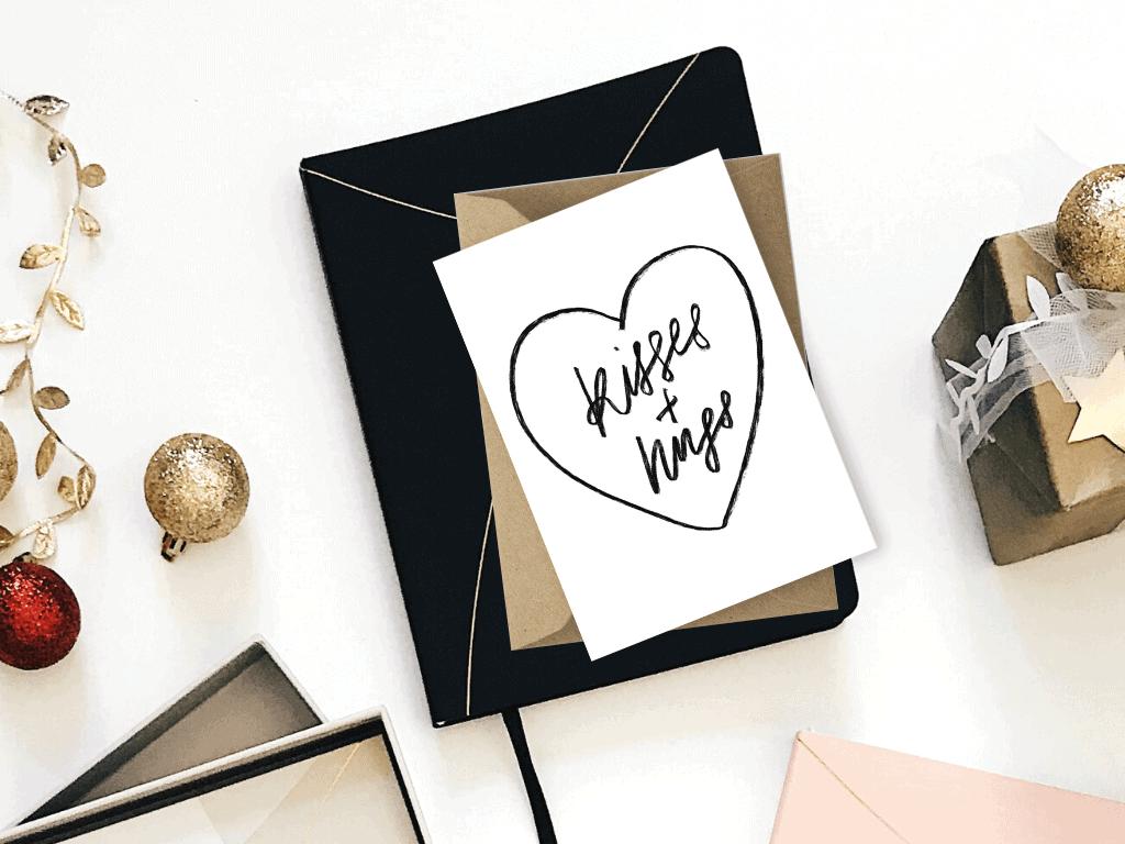Free Christmas Card Template Printables Kisses and Hugs