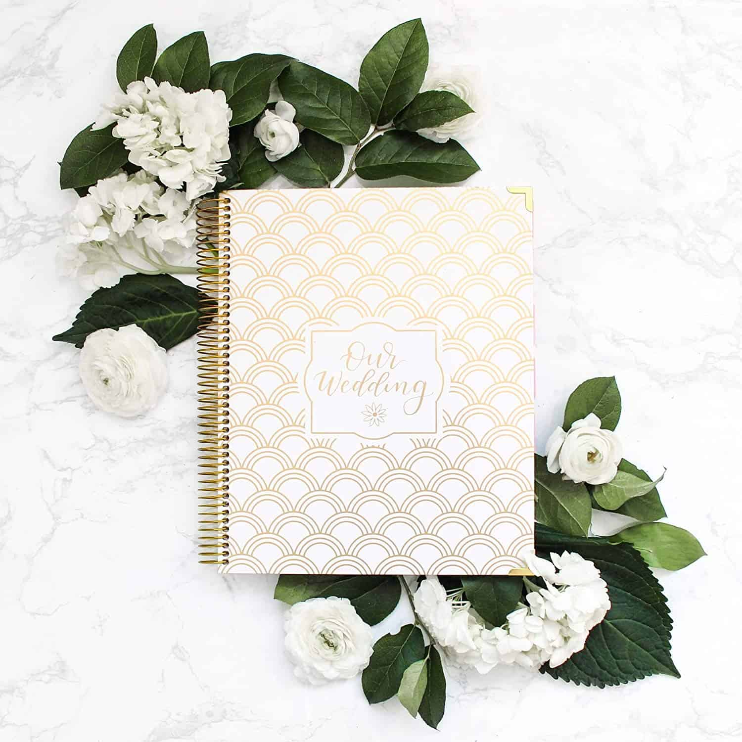 Gold Foil Scallop Hard Cover Wedding Planner Books and Organizers for Brides Engagement Gift Gold Foiling Bridal Planners