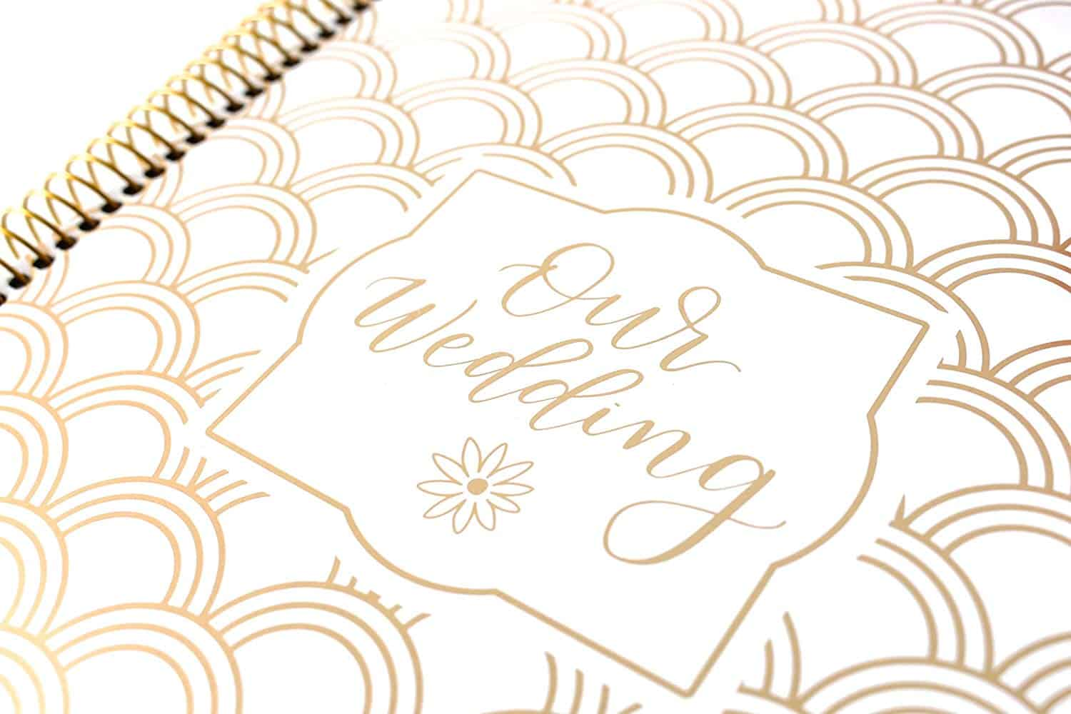 Gold Foil Scallops Hard Cover Wedding Planner Books and Organizers for Brides Engagement Gift Gold Foiling Bridal Planner