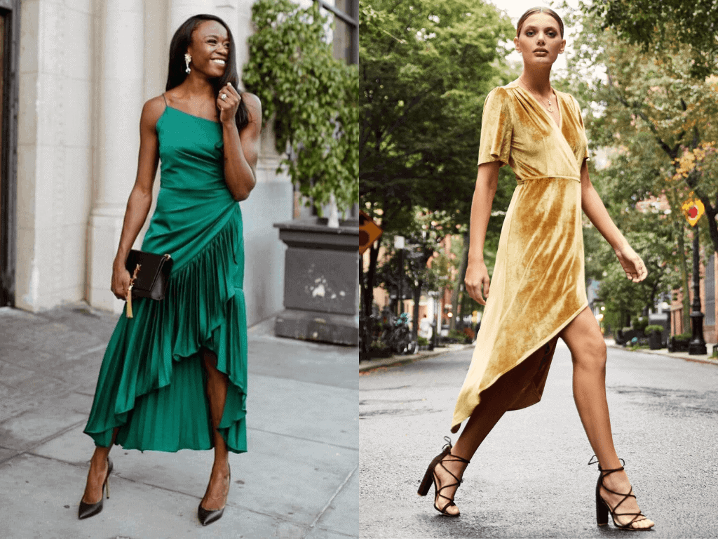 Gold Wrap Dress Wedding Guest Outfits Emerald Green Pleated Dress Flor Et. Al What to Wear to a Wedding as a Guest Jasmine Blocker (1)