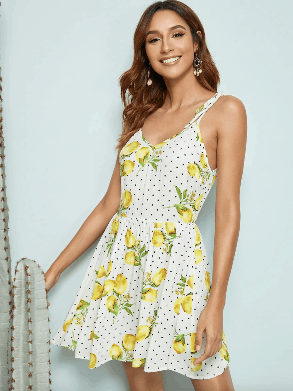 Gorgeous Summer Honeymoon Outfit SHEIN Lemon And Dot Print Self Tie Shoulder Dress