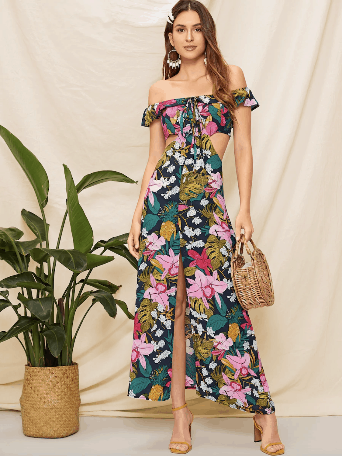 Gorgeous Summer Honeymoon Outfits Floral Print Dresses Shein Off The Shoulder Floral Print Cut Out Dress