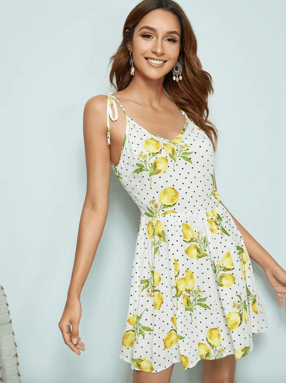 Gorgeous Summer Honeymoon Outfits SHEIN Lemon And Dot Print Self Tie Shoulder Dress