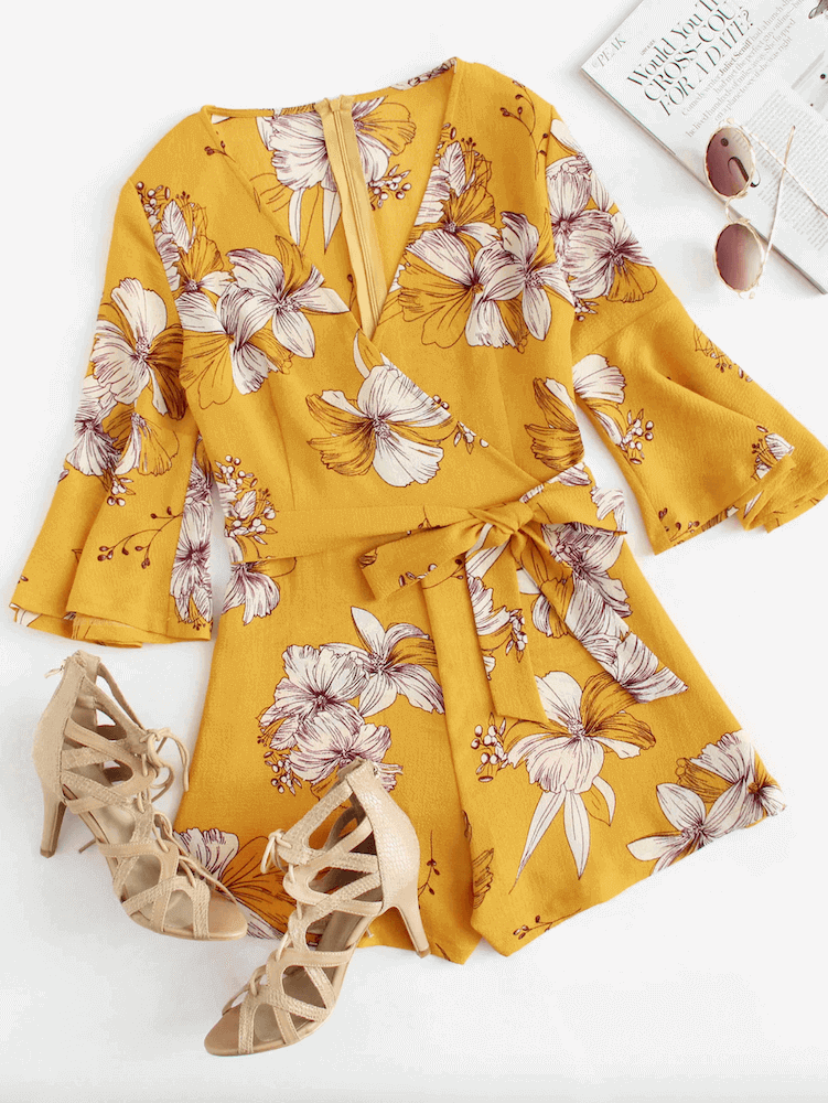 How to Dress for Honeymoon Mustard Fluted Sleeve Floral Print Self Tie Waist Romper