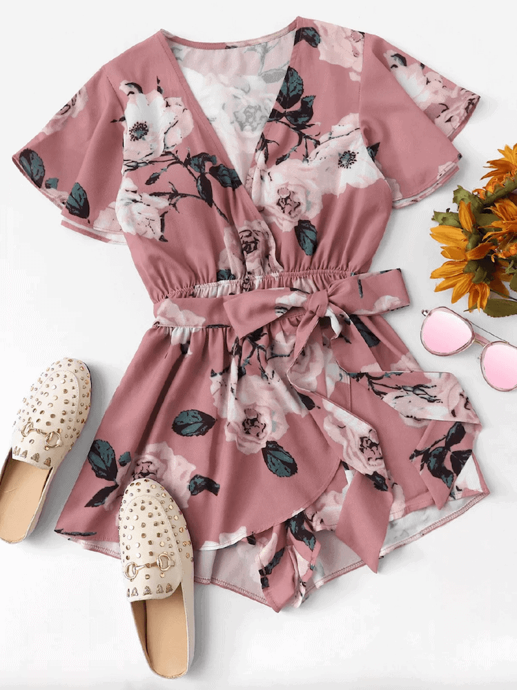 How to Dress for Honeymoon Playsuits Pink Floral Romper Short with Sleeves