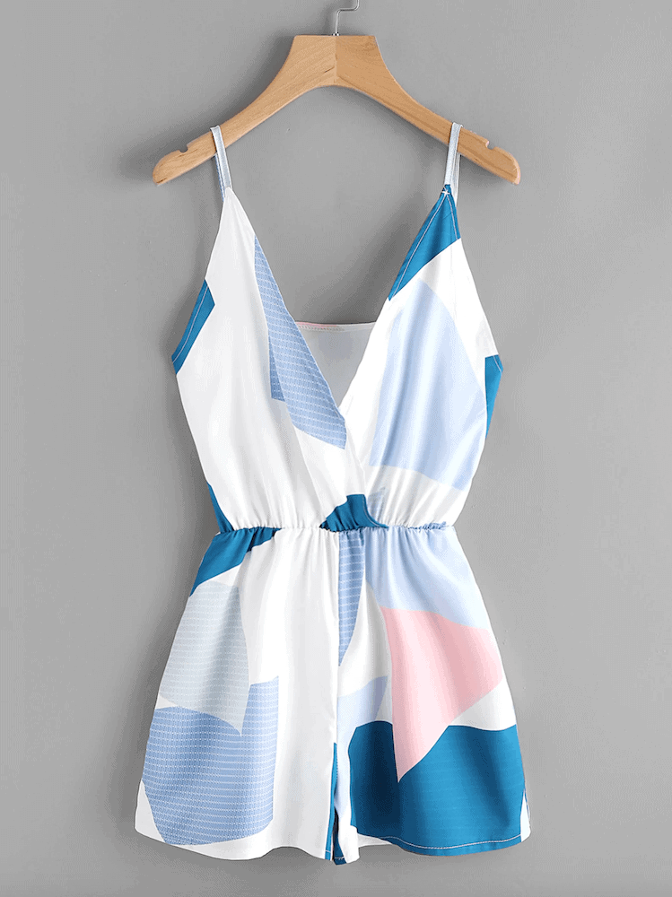 How to Dress for Your Honeymoon Blue Abstract Print Surplice Cami Romper