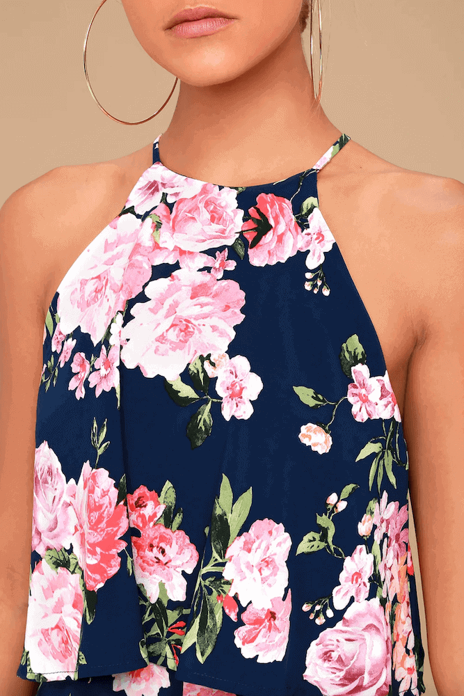 How to Dress for Your Honeymoon Navy Blue Floral Print Romper Halter Neck