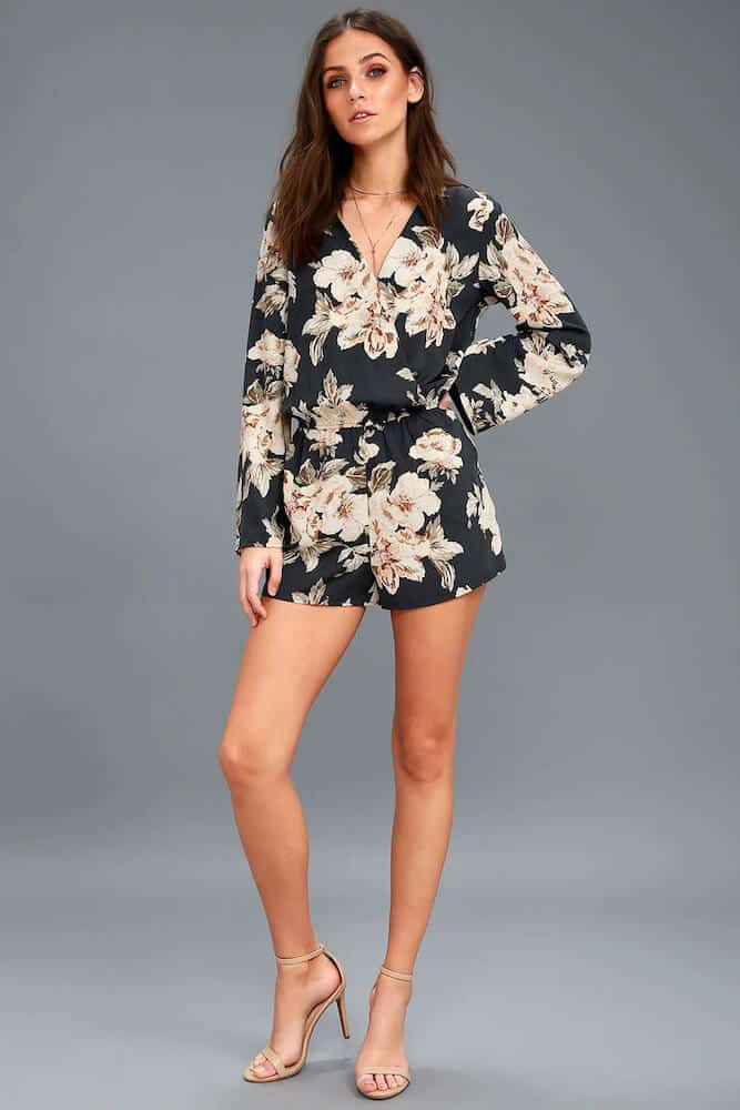 How to Dress for Your Honeymoon Navy Blue Floral Print Romper with Sleeves 2