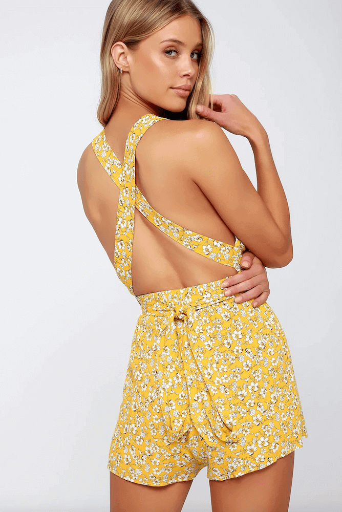 How to Dress for Your Honeymoon Playsuit Yellow Floral Print Convertible Romper 2