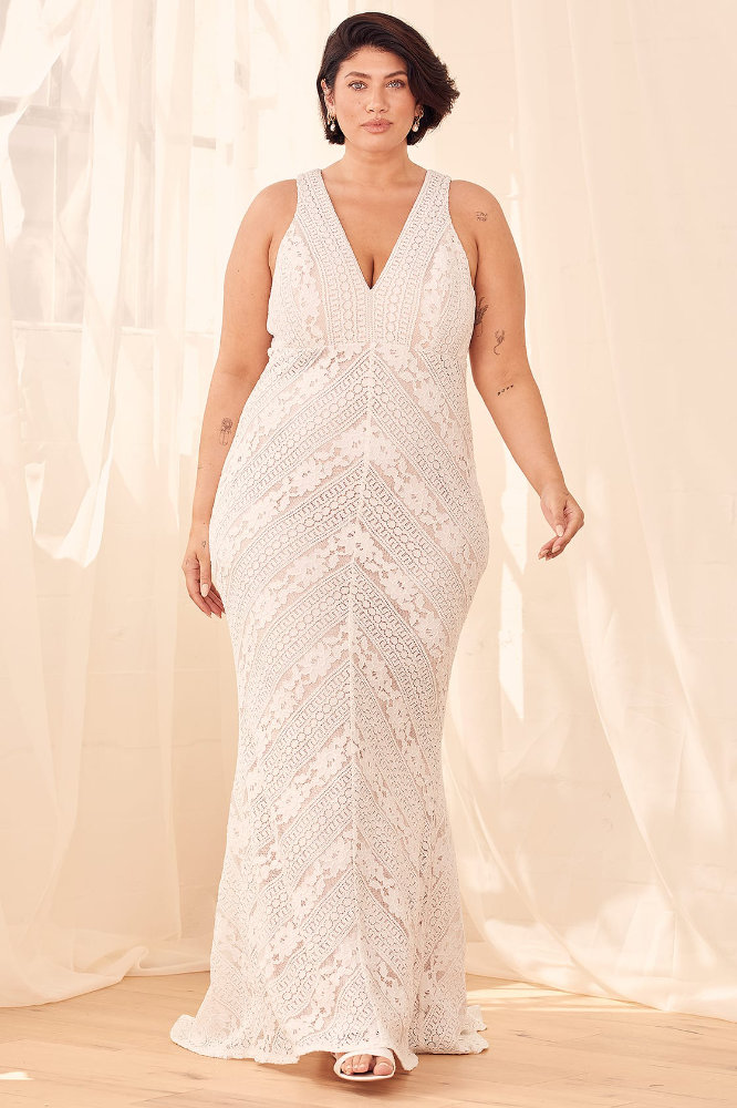 Inexpensive Plus Size Wedding Dresses White Lace Wedding Gown Lulus