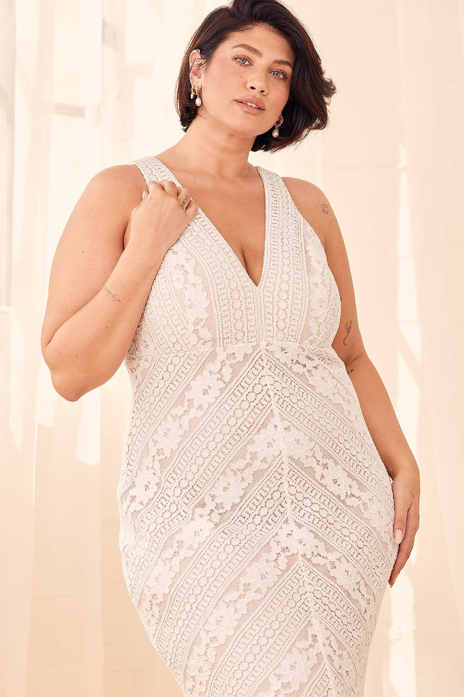 Inexpensive Plus Size Wedding Dresses White Lace Wedding Gowns Lulus
