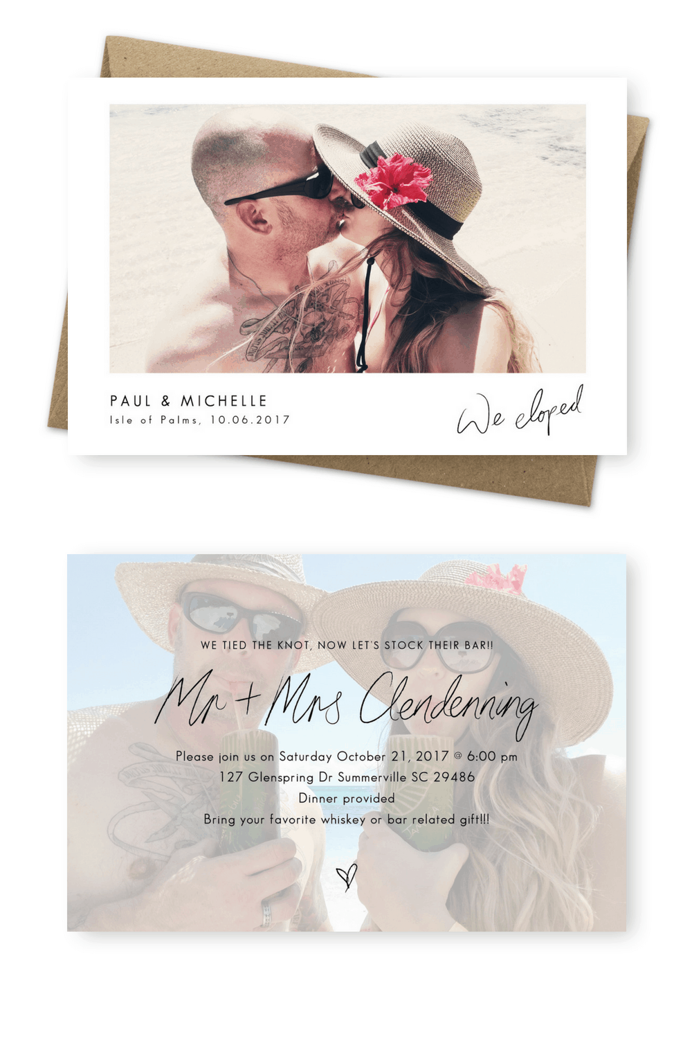 Wedding Announcement Cards and Elopement Invitation Ideas We Tied The Knot