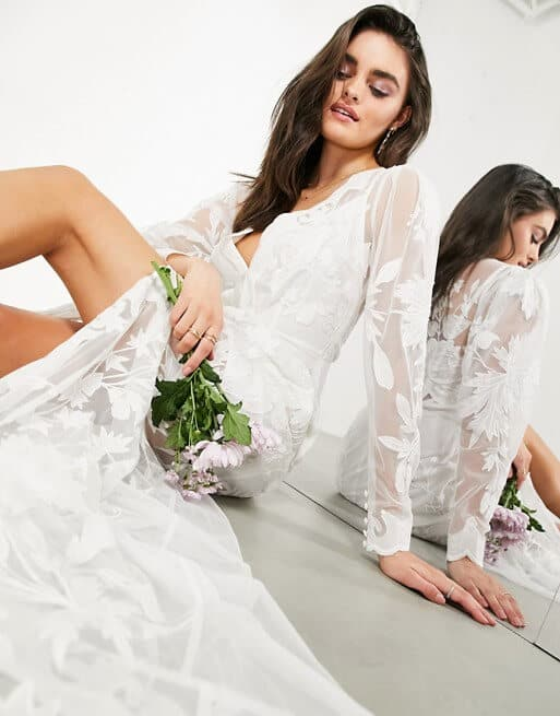Ivory Wedding Dresses Cheap with Sleeves Affordable Wedding Dress Online ASOS