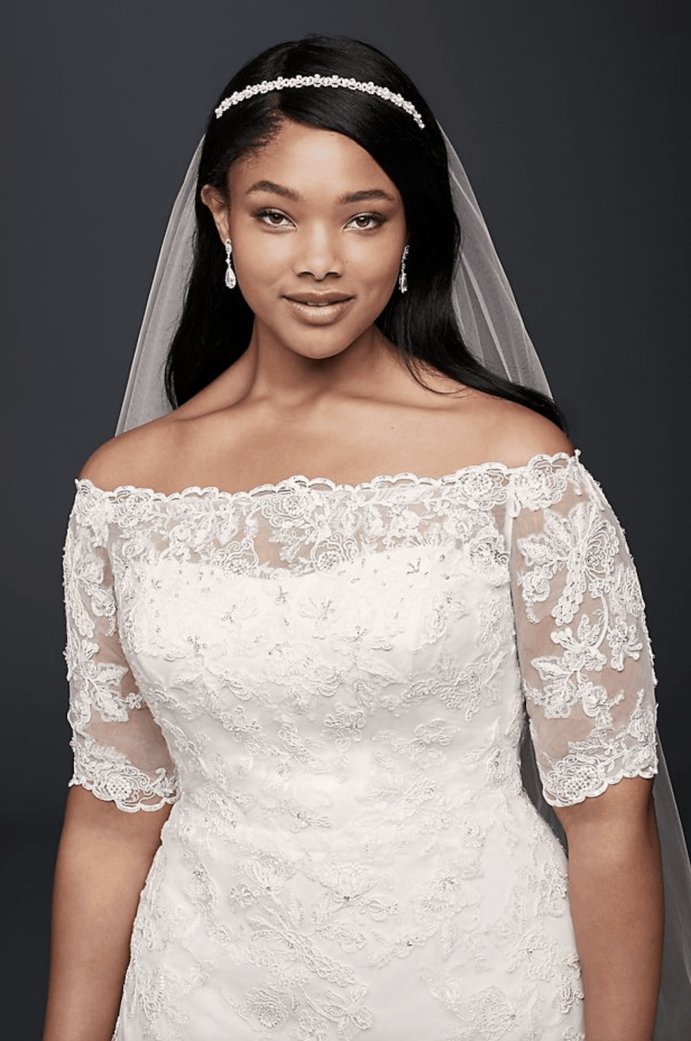 Jewel 3:4 Sleeve Plus Size Wedding Dress Plus Size Bridal Gowns with Lace Sleeves