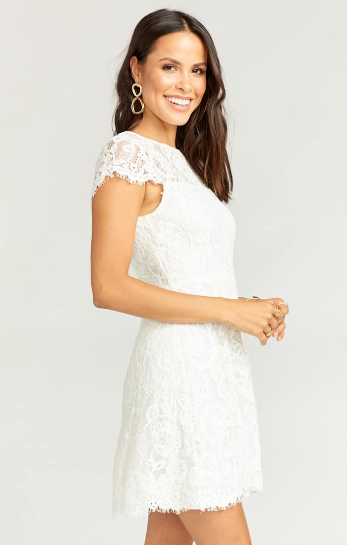 Kitchen Tea Outfits and Bridal Shower Dresses for the Bride High Neck Lace White Dress