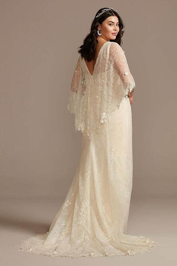 Lace Plus Size Wedding Dress with Trimmed Capelet Curvy Bride Dress Melissa Sweet 3