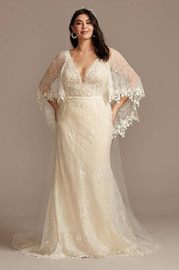 Lace Plus Size Wedding Dress with Trimmed Capelet Curvy Bride Dress Melissa Sweet