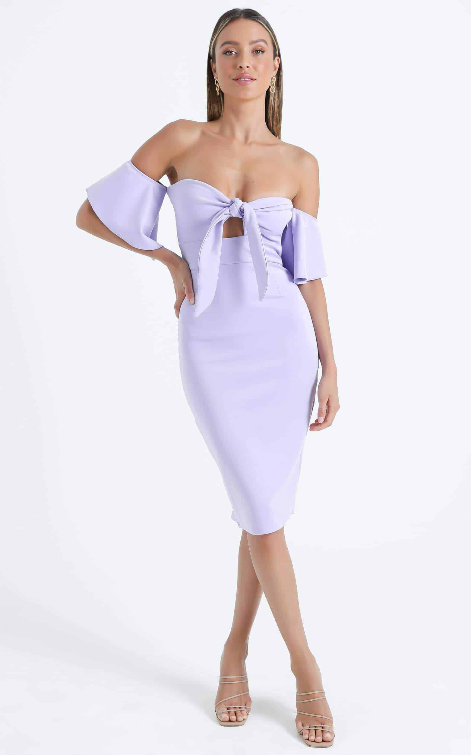 Lilac Purple Bow Off The Shoulder Dress Wedding Guest Dresses Showpo