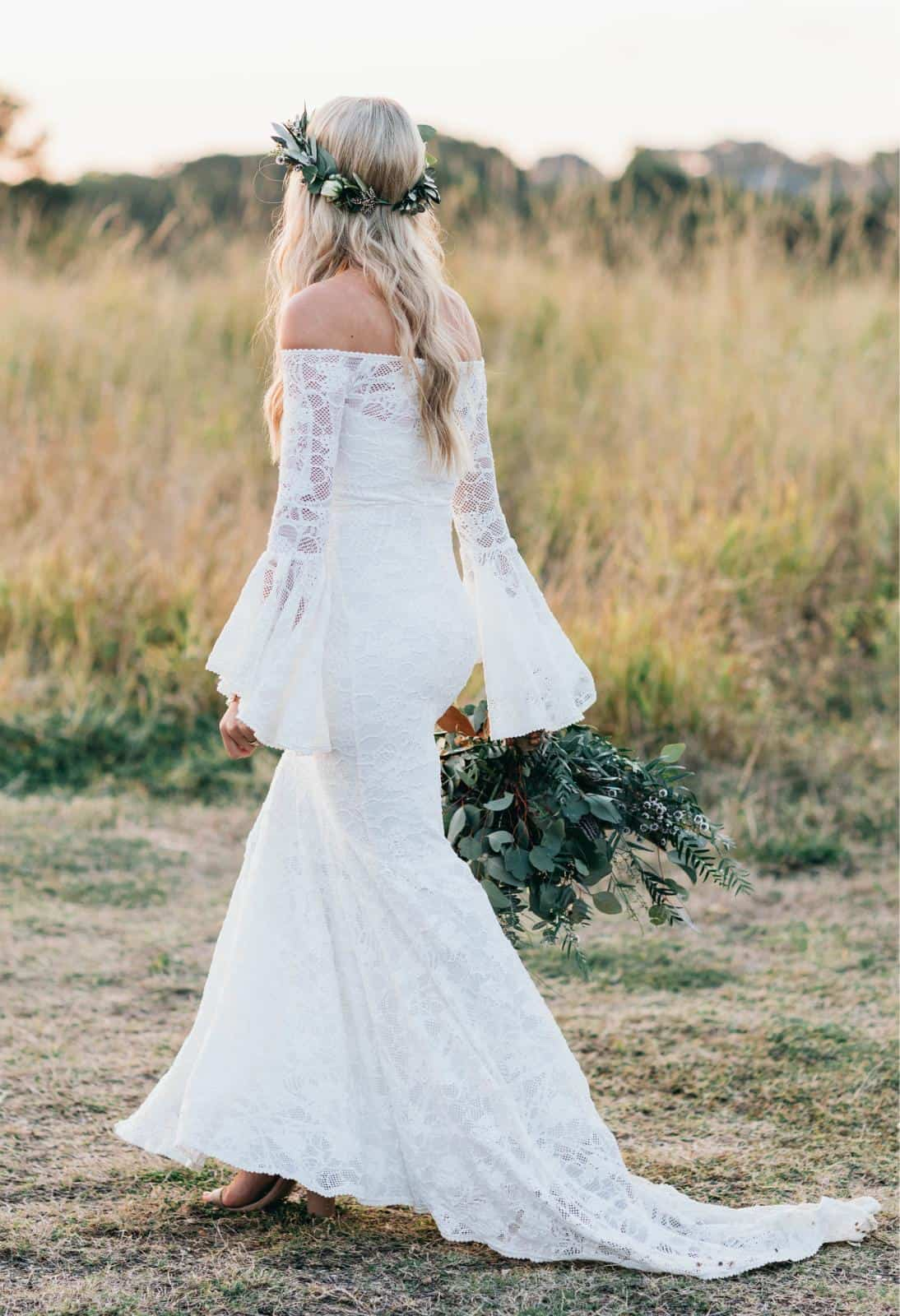 Long Sleeves Boho Wedding Dresses Inspiration French Lace Bridal Gowns Handmade by Grace Loves Lace Sloane