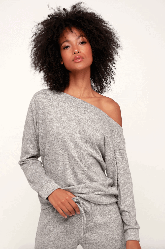 Loungewear Work From Home Quarantine Essential Lockdown Uniform Ideas Off the Shoulder Sweater Jumper Grey
