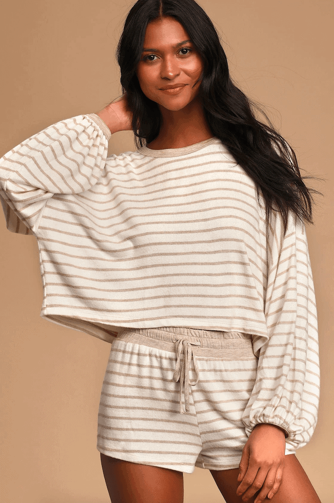 Loungewear Work From Home Quarantine Essential Lockdown Uniform Ideas Pyjama Pullover Sweeter Jumper White and Beige Striped