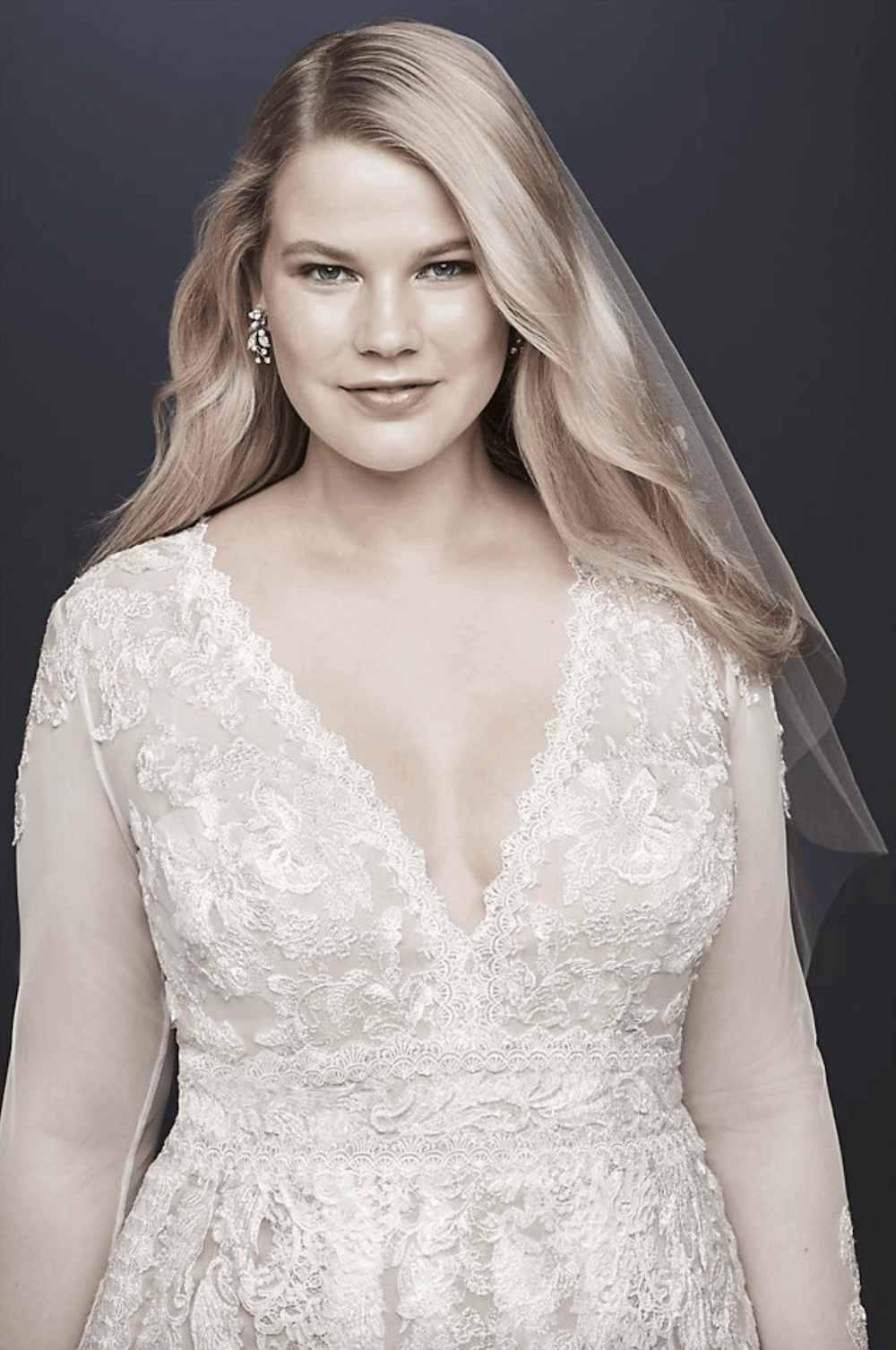 Melissa Sweet Linear Lace Plus Size Wedding Dress with Sleeves Bridal Gowns