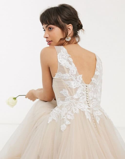 Mesh Wedding Dress with Embroidered Bodice Cappuccino Wedding Dress ASOS