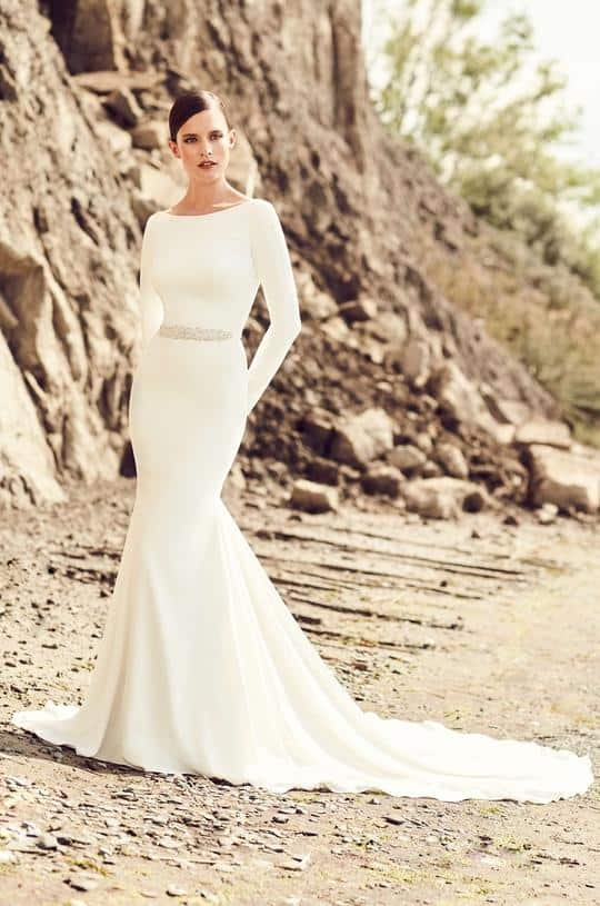 Mikaella 2105 Wedding Dress and Bridal Gown Under $1500 Crepe Wedding Dresses
