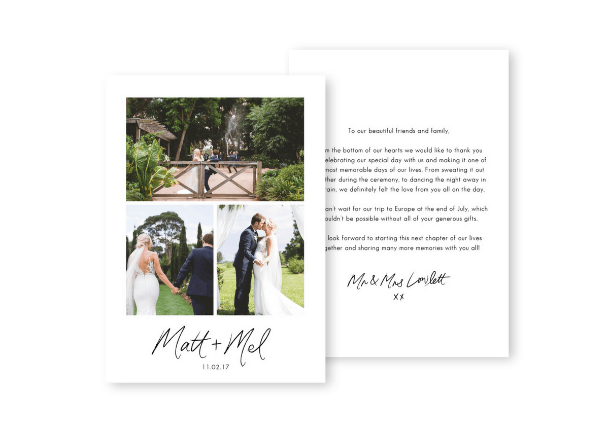 Modern Country Wedding Photo Thank You Cards