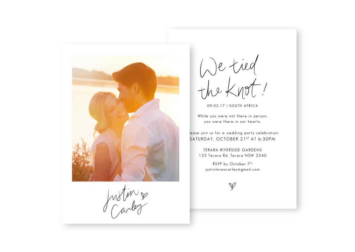 Modern Wedding Elopement Announcement Invitations
