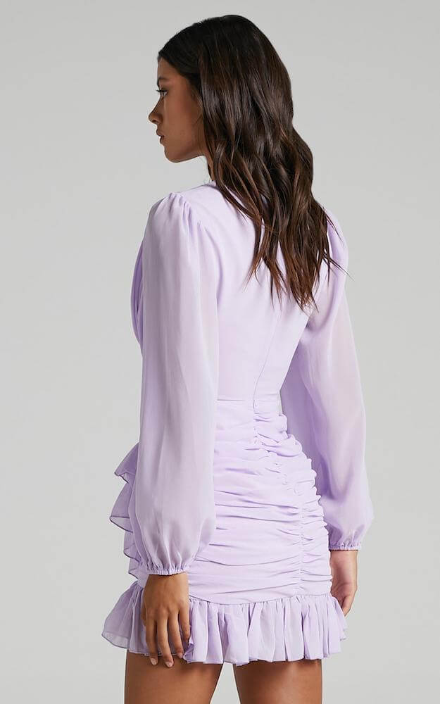 Non Traditional Bridal Shower Dress Online Lilac Sheer Puff Sleeve Mini Dress