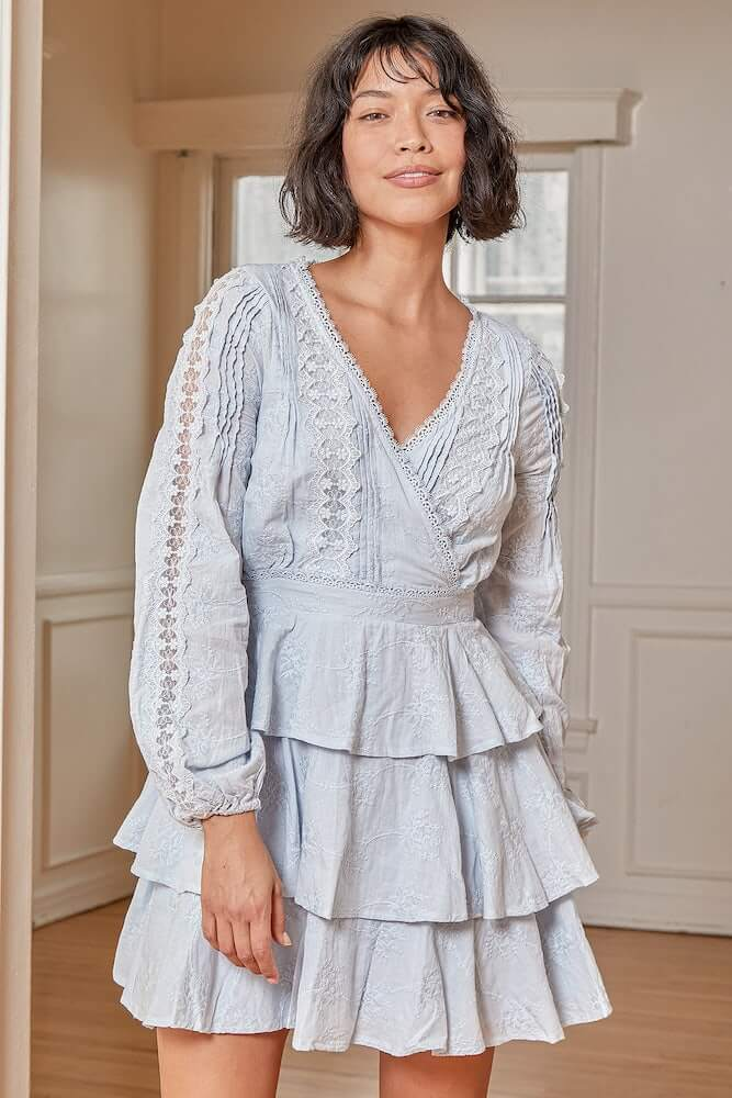 Non Traditional Bridal Shower Dresses Online Light Blue Lace Embroidered Mini Dress