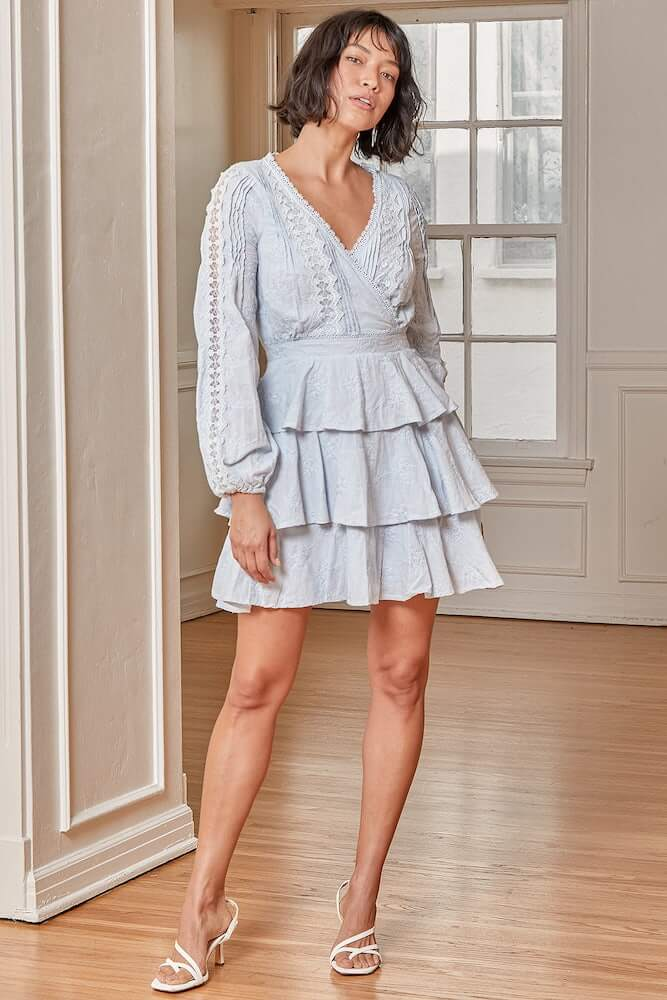 Non Traditional Bridal Shower Dresses Online Light Blue Lace Tiered Mini Dress