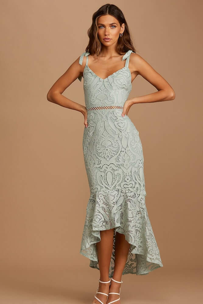 Non Traditional Bridal Shower Dresses Online Sage Green Lace Midi Dress