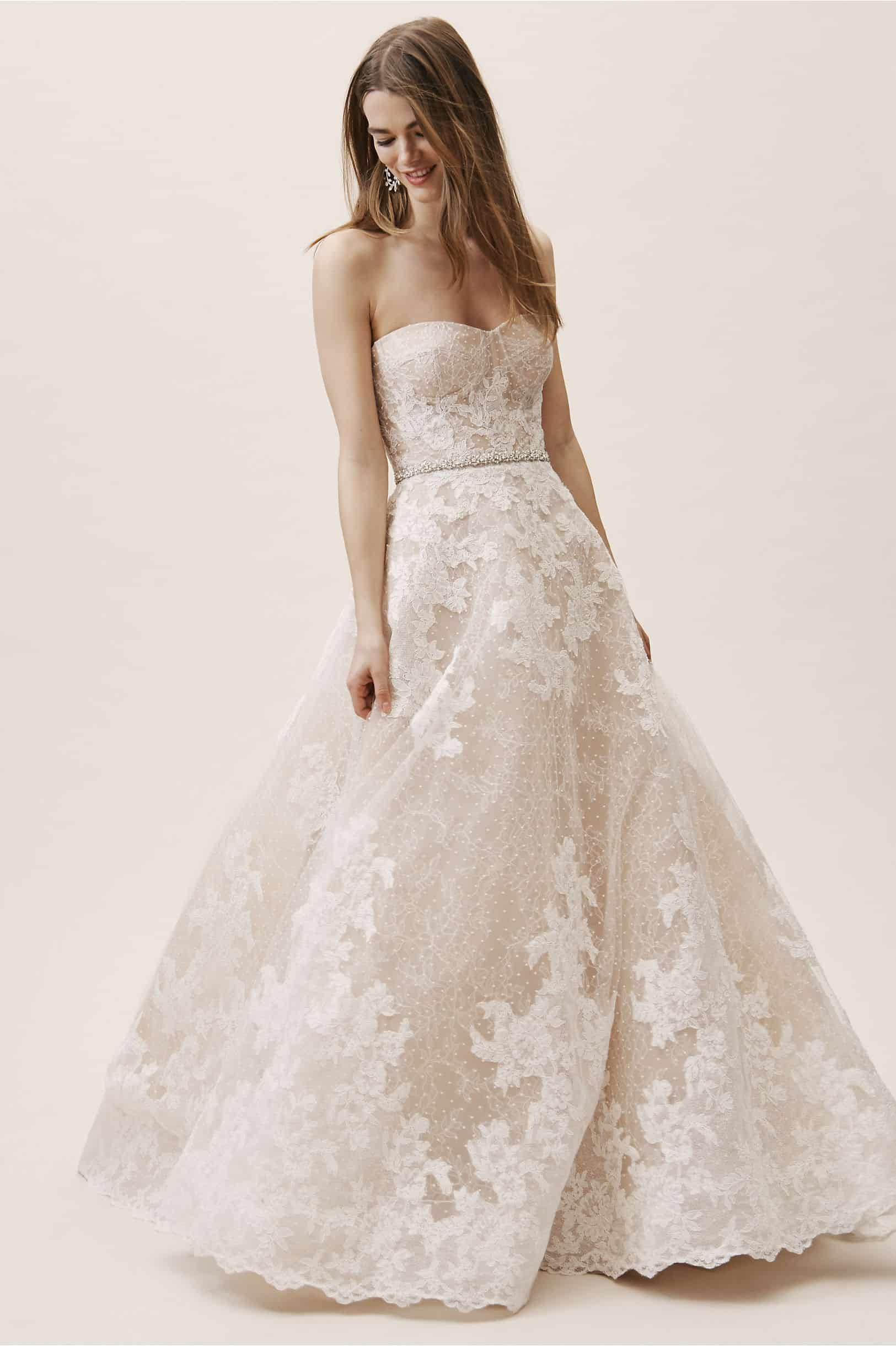 Nude Bridal Gown Strapless Wedding Dress Chantilly Lace Swiss Dot Tulle Geneva Gown BHLDN Watters