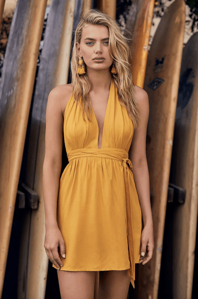 Perfect Summer Outfits for the Beach Mustard Yellow Wrap Dress Sun Dresses