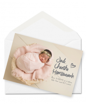 Personalised Baby Thank You Card Postcard Baby Birth Announcements