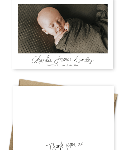Personalised Baby Thank You Card Postcard Birth Announcements Sigrid Petersen Photography