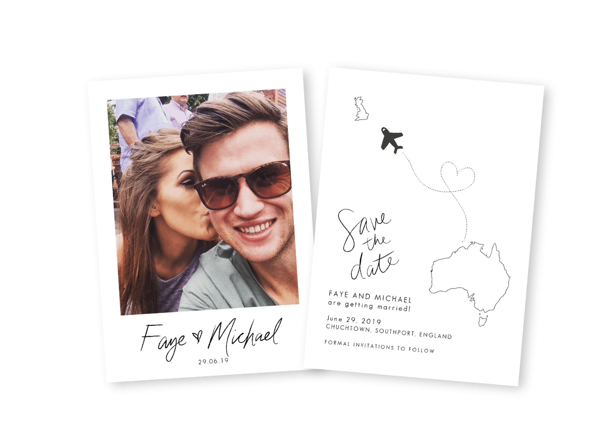 Photo Save the Date Cards Detail Map Sydney Australia For the Love of Stationery